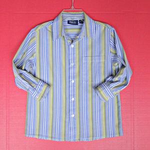 Boys Long Sleeve Button Down Shirt M 10 12 Cotton